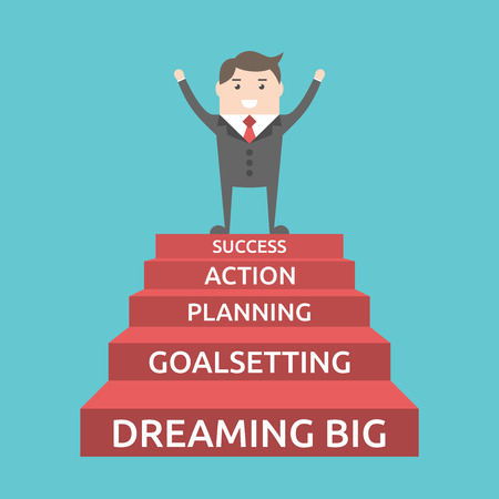 triumphant: Triumphant businessman standing on five steps to success. Dream, goal, plan, action, motivation, development, career and strategy concept. EPS 8 vector illustration, no transparency Illustration