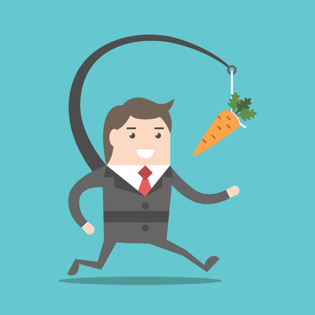 Enthousiaste zakenman jagen motiverende wortel opknoping in de voorkant van hem. Doel, motivatie, carrière, beloning en prestatie concept. EPS 8 vector illustratie, geen transparantie