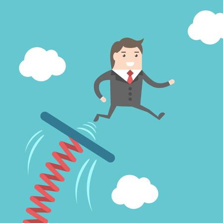 Zakenman springen van springplank op de blauwe hemel achtergrond. Zaken, succes, start, begin, moed, vooruitgang en carrière concept. EPS 8 vector illustratie, geen transparantie