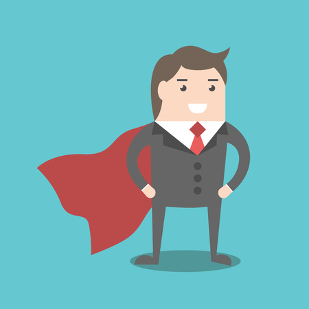 cloak: Successful young super businessman hero with red cloak. Business success, power, competence, performance and management concept. EPS 8 vector illustration, no transparency Illustration