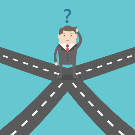 hesitation: Confused businessman standing on crossroads and choosing way. Choice, opportunity, confusion, career, decision and solution concept. EPS 8 vector illustration, no transparency