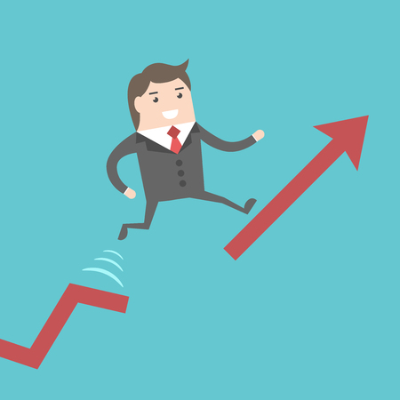 gap: Successful businessman running up chart and jumping over gap. Business, growth, development, crisis, solution and success concept. EPS 8 vector illustration, no transparency Illustration