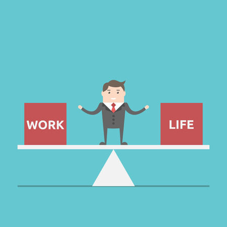 Businessman balancing between work and life on scales. Business, happness, harmony, lifestyle and time management concept. EPS 8 vector illustration, no transparency