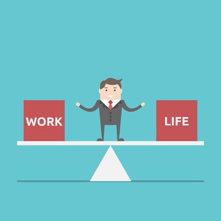 Zakenman balanceren tussen werk en leven op schalen. Business, happness, harmonie, lifestyle en time management concept. EPS 8 vector illustratie, geen transparantie