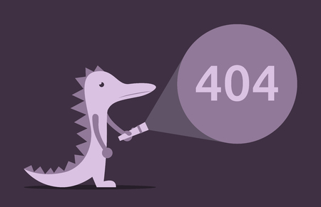 electric torch: Lizard, dinosaur or crocodile with electric torch in darkness. 404 error and web page problem concept