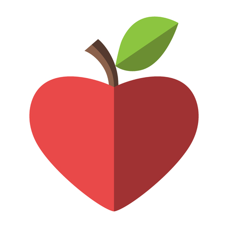 heart shaped leaves: Heart shaped red apple. Health, healthy eating, fruit and love concept. Illustration