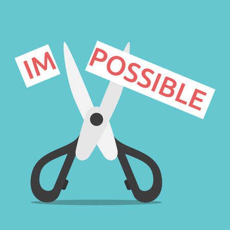 Word impossible on paper cut in two with scissors. Opportunity, courage, will power, desire, motivation and perseverance concept. Illustration