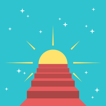 Red steps leading to sun on starry sky. Happiness, harmony, faith, heaven, paradise and dream concept.