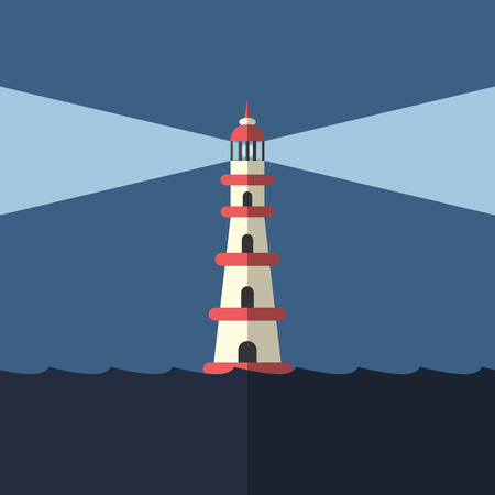 guidance: Lighthouse lighting way in dark night sea. Goal, hope, faith, help, guidance, hope, danger and direction concept.