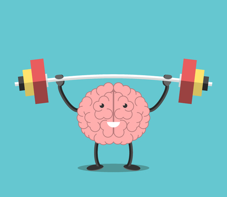 Strong powerful brain holding heavy barbell. Intelligence, mind, imagination, creativity, wisdom, knowledge and education concept.