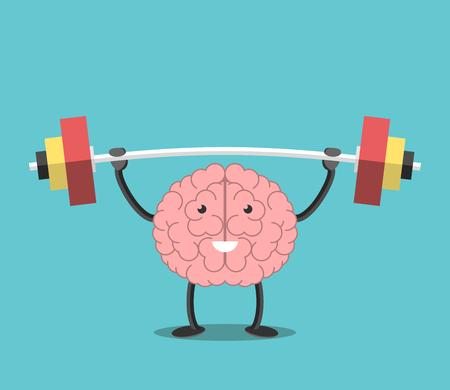 Sterke krachtige hersenen bedrijf zware barbell. Intelligentie, verstand, verbeelding, creativiteit, wijsheid, kennis en onderwijs concept. Vector Illustratie