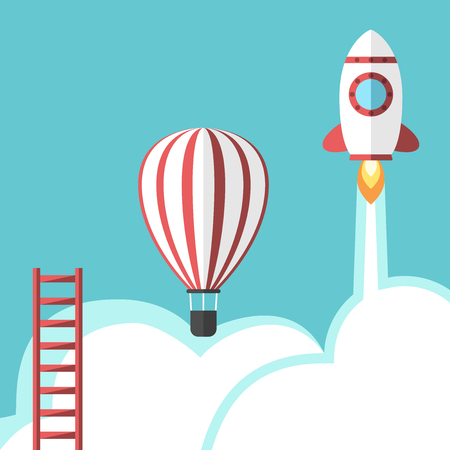 growth hot: Ladder, hot air balloon and space rocket. Business success, competition, career, promotion, opportunity and development concept.
