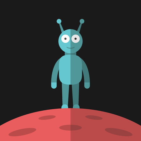 life science: Funny smiling blue alien standing on red planet with craters on dark black background. Life, science, outer space and universe concept.