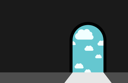 archway: Dark room with door leading to sky with clouds and bright daylight. Heaven, paradise, dream, darkness, freedom, hope, faith and religion concept.