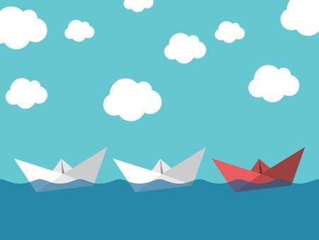 Red bateau de papier leader blancs naviguant dans la mer sur fond de ciel bleu. Leadership, le succès, le travail d'équipe et le concept de gestion.