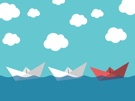 Red paper boat leading white ones sailing in sea on blue sky background. Leadership, success, teamwork and management concept. Illustration