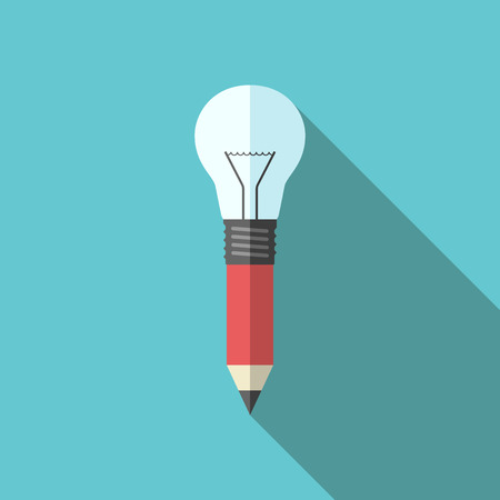 Combined pencil-lightbulb on turquoise blue background with long shadow. Flat style. Creativity, design, education, drawing, inspiration and idea concept.