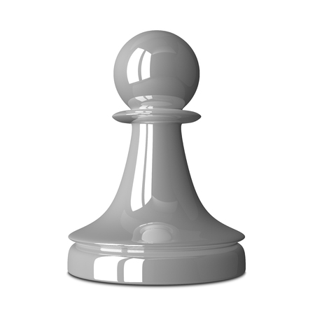 chess pawn: White glossy shiny chess pawn isolated on white background with small soft shadow. 3D illustration