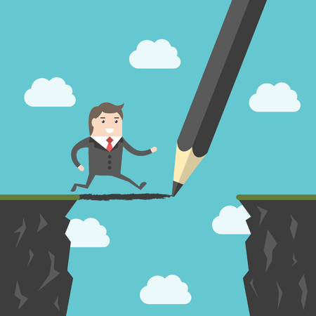 Pencil drawing a bridge above abyss between cliffs for running man. Conquering adversity, business success, bridging the gap and challenge concept. Illustration