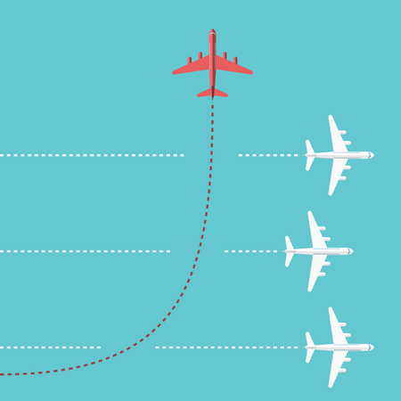 Czerwony samolot zmienia kierunek i trzech białych. Nowa idea, zmiana trendu, odwaga, kreatywne rozwiązania, innowacje i unikalna koncepcja sposobem.