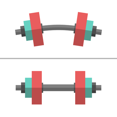 bend: Set of normal and deformed bent dumbbells isolated on white. Sport equipment, weight lifting, exercise, strength and gym concept. Flat style.