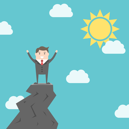 triumphant: Happy triumphant man standing on top of rock above clouds on blue sky background with sun. Success, achievement and goal concept.