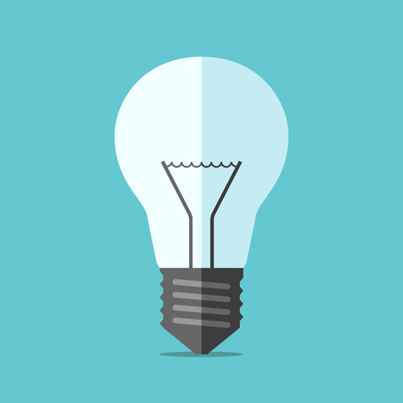 invent: Flat style light bulb on blue background. Technology, idea, solution, innovation, creativity and invention concept.