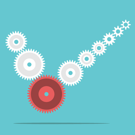 Many cog wheels forming check mark. Teamwork, management and cooperation concept. Illustration