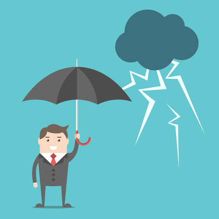 Happy confident businessman with umbrella standing safely under thundercloud with lightnings.