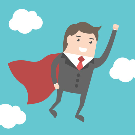 above clouds: Super businessman hero with red cloak flying above clouds on blue sky background. Power, business success and confidence concept.