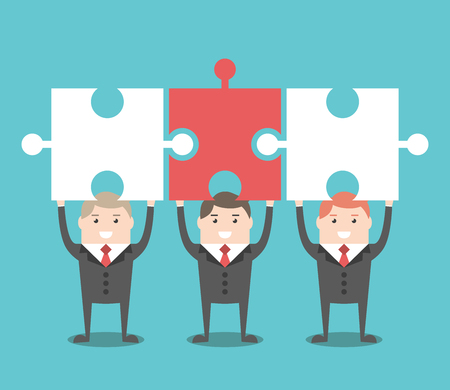 merge together: Three businessmen standing holding puzzle pieces above head. Teamwork, solution and cooperation concept.