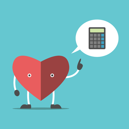 Thinking heart character with calculator in speech bubble. Logic, feeling and intuition concept. Flat design. Illustration