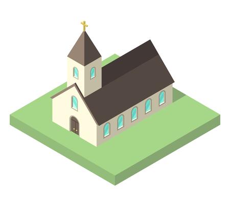 Hermosa pequeña iglesia isométrica sobre tierra verde aislado en blanco. El cristianismo, la religión y el concepto de fe. Diseño plano. Ilustración de vector