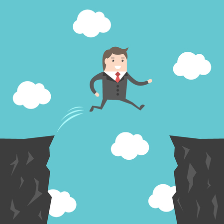 businessman jumping: Confident courageous businessman jumping over abyss between cliffs. Risk, challenge and ambition concept. Flat design.