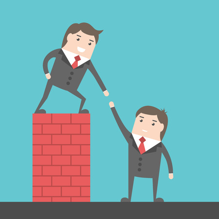 Confident successful leading businessman helping another one to get over brick wall. Help, assistance and team concept. Illustration