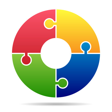 Ring assembled of four colorful puzzle pieces. Teamwork, cooperation and solution concept.