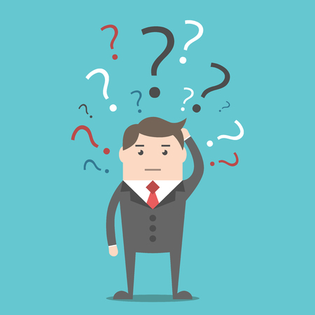 Confused thinking businessman with many multicolor question marks above head. Decision, uncertainty and problem concept. Illustration