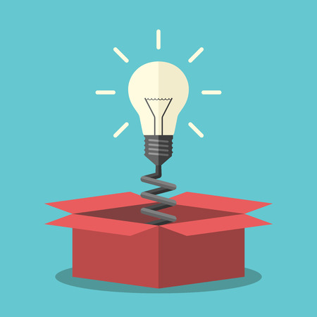 Glowing light bulb on spring appearing from red box. Creativity, innovation and aha moment concept. Flat design.