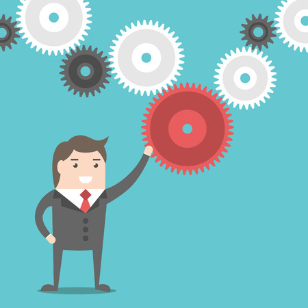 missing link: Businessman setting and rotating cog wheel and moving complex mechanism. Business, teamwork and management concept. Flat style Illustration