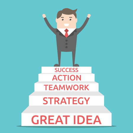 Happy businessman standing on five steps: great idea, strategy, teamwork, action and success. Illustration