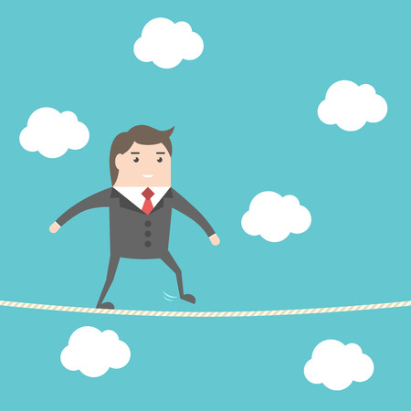 rope bridge: Balancing businessman walking on rope high in sky. Blue background with clouds. Risk, challenge and courage concept. Flat design. EPS 8 vector illustration, no transparency