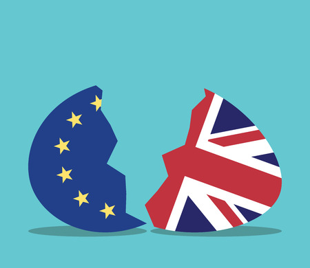 European Union and United Kingdom conceptual egg cracking in two halves. Europe, politics and economics concept. Flat design. EPS 8 vector illustration, no transparency Vettoriali