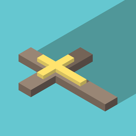 inlay: Isometric wooden Christian cross with gold inlay on turquoise blue background with long shadow. Christianity, religion and faith concept. Flat design. EPS 8 vector illustration, no transparency