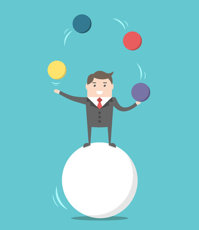 Happy businessman standing on sphere and juggling. Balance, challenge and performance concept. Flat design. EPS 8 vector illustration, no transparency Vettoriali