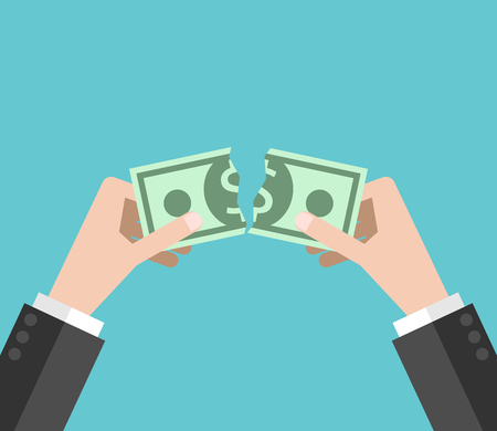 Hands tearing dollar money bill in half on turquoise blue background. Crisis, loss and finance concept. Flat design. EPS 8 vector illustration, no transparency