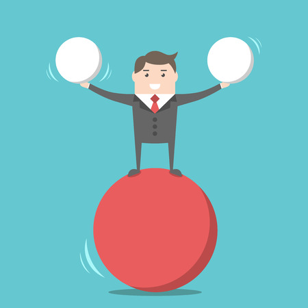 Smiling businessman balancing on red ball holding two spheres. Harmony, happiness and performance concept. Flat design. EPS 8 vector illustration, no transparency