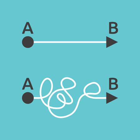 caminos rectos y complicados de A a B en el fondo azul. Problema, solución y concepto de la elección. Diseño plano. EPS 8 vector ilustración, sin transparencia Ilustración de vector