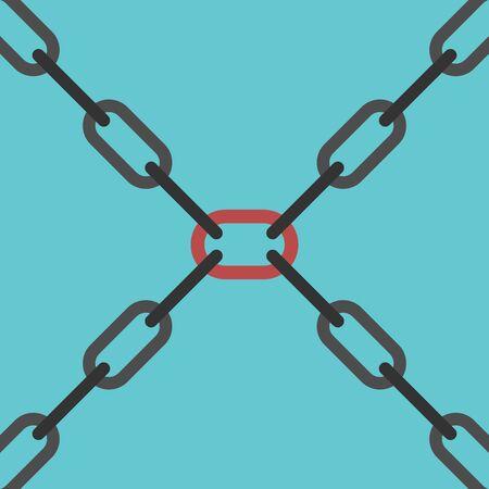 Zwarte kettingen kruising en belangrijkste centrale rode link op een blauwe achtergrond. Team, leiderschap en veiligheidsconcept. Plat ontwerp. EPS 8 vector illustratie, geen transparantie