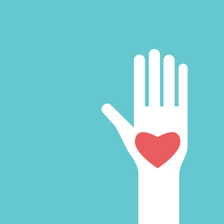 White raised hand with red heart on its palm on turquoise blue background with copy space. Help, charity and love concept. Flat design.