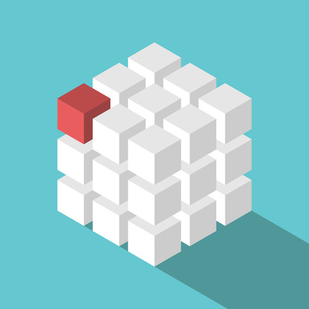 Cube assembled of many white blocks and a red one. Missing piece, uniqueness and teamwork concept. Flat design.